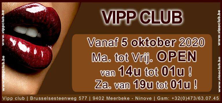 Vipp Club nieuwe openingsuren 09-2020 prive